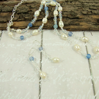 Necklace & Earrings, Sterling Silver with Pearls, Agate and Myuki Glass Beads