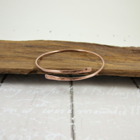 Antiqued Copper Simple Hammered  Bangle, Adjustable Fit, Wrap Bracelet