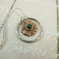 Sunflower Necklace, Sterling Silver, Bronze and Malachite Handcrafted Pendant
