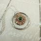 Sunflower Necklace, Stering Silver, Bronze and Malachite Handcrafted Pendant