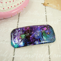 Hair Clip, Large Barrette, Hand Painted Embossed Dragonflies, Resin Coated