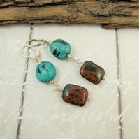 Earrings, Sterling Silver, Lever Back with Turquoise and Ocean Jasper