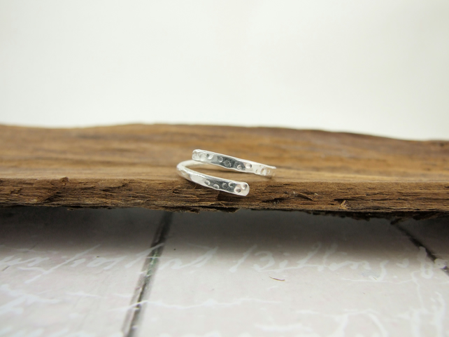 Ring, Sterling Silver Wrap Ring, Adjustable Fit, S,M or L