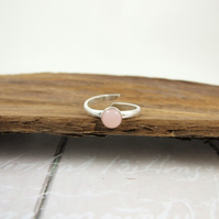 Sterling Silver and Pink Opal Ring, Adjustable Fit, UK Size Medium