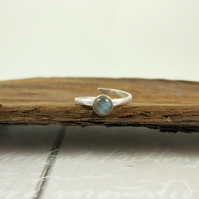 Sterling Silver and Labradorite Ring, Adjustable Fit, UK Size Medium