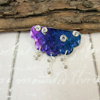 Raincloud and Raindrops Brooch. Hand Painted with Silver Swirls
