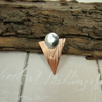 Small Geometric Shapes Lapel Pin Brooch Sterling Silver Disc and Copper Triangle