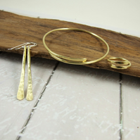Brass Simple Hammered Jewellery Set. Bangle, Earrings and Ring, Size S-L