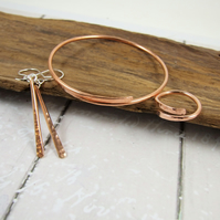 Copper Simple Hammered Jewellery Set. Bangle, Earrings and Ring, Size S-L