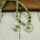 Jade and Sterling Silver Necklace and Earring Set, Soft Olive Green