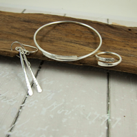Silver Simple Hammered Jewellery Set. Bangle, Earrings and Ring, Size S-L