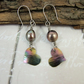 Earrings, Anodised Titanium, Aurora Heart Droppers with Mocha Pearl