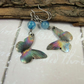 Earrings, Anodised Titanium, Aurora Butterfly Droppers with Teal Agate