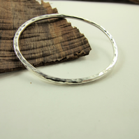Sterling Silver Heavy Hammered Oval Bangle