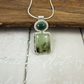 Prehnite and Jasper Necklace, Sterling Silver with Bezel Set  Green Gemstones