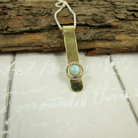 Larimar Pendant Necklace, Brass and Sterling Silver Pendant, Pale Blue Gemstone
