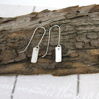 Earrings, Textured Sterling Silver Elegant Dropper, Minimalist Earrings