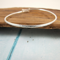 Sterling Silver Hammered Texture Skinny Bangle Adjustable Fit Small to Medium