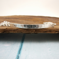 Sterling Silver Slim Bar Bracelet, Hand forged and patterened