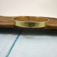 Textured Brass Bangle with Hearts Pattern