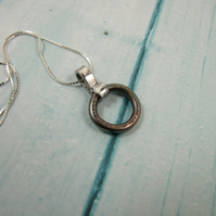 Circle Pendant, Sterling Silver and Anodised Titanium Necklace