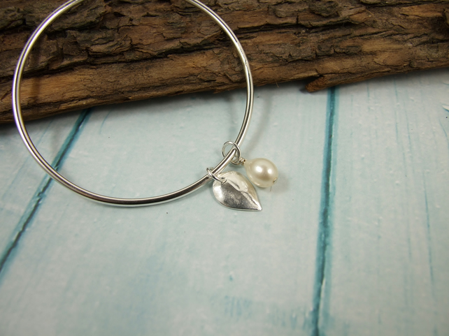 Sterling Silver Leaf and Pearl Charm Bangle