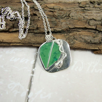 Pendant, Silver Bud and Leaf with Enamel Necklace