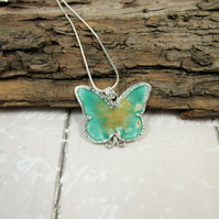 Pendant, Butterfly Sterling Silver with Enamel Necklace