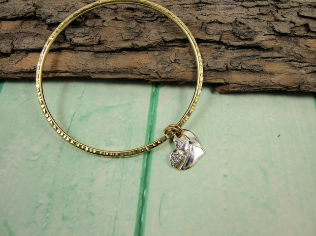 Brass Heart Charm Bangle, Brass Bracelet  Recycled Mixed Metal Heart Charm