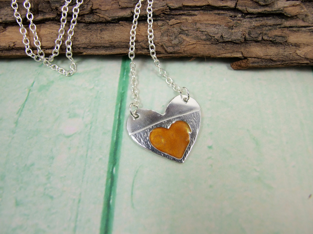 Pendant, Silver Heart Enamel Necklace, Orange Heart in Heart Love Token
