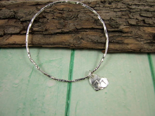 Sterling Silver Hammered Bangle Textured Twists and Rustic Heart Charm