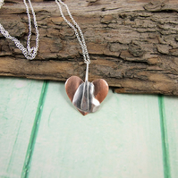 Hearts in Heart Pendant Necklace, Copper and Sterling Silver, Artisan Design