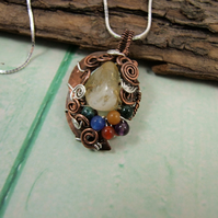 Copper and Sterling Silver Wire Wrapped Pendant. Citrine with Mixed Gemstones
