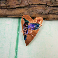 Hummingbird Brooch, Copper Heart and Bird Pin Brooch