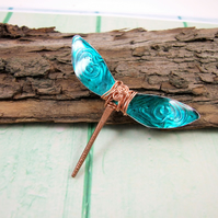Dragonfly Brooch, Teal Winged Dragonfly Pin Brooch