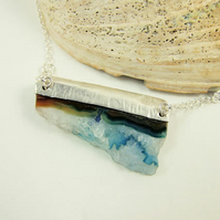 Druzy Agate Necklace, Sterling Silver with Rough Blue and White Druzy Agate