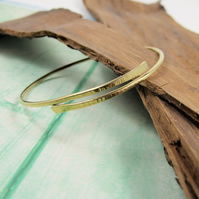 Brass Line Textured Bangle, Wrap Bracelet
