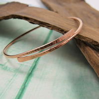 Copper Line Textured  Bangle, Wrap Bracelet
