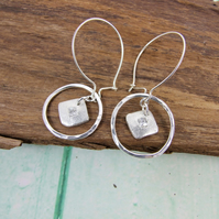 Sterling Silver  Dropper Earrings with Sparkly Cubic Zirconia