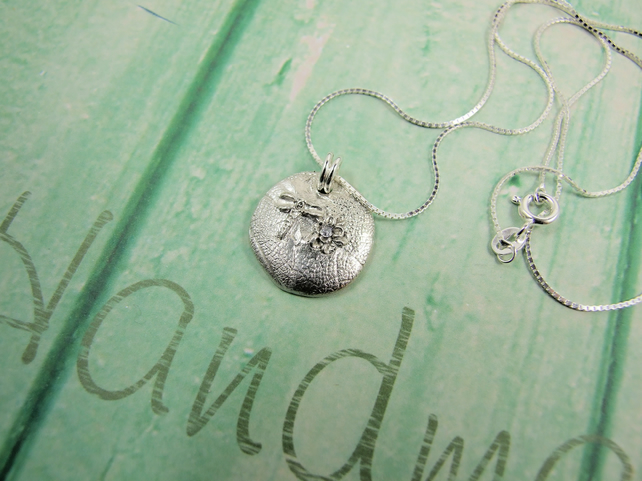Dragonfly Necklace, Fine and Sterling Silver Handcrafted Pendant