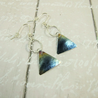 Earrings, Anodised Titanium, Aurora Triangle Droppers with Sterling Silver