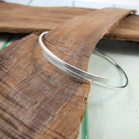 Frosted Sterling Silver Simple Bangle, Adjustable Fit, Wrap Bracelet