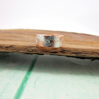 Copper and Sterling Silver Wide Band Fusion Ring. UK Medium Fit, Unisex