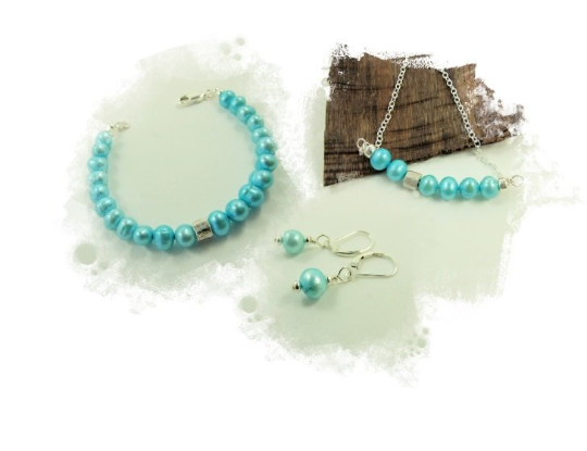Aqua Pearl Jewellery Set, Sterling Silver, Necklace, Bracelet & Earrings