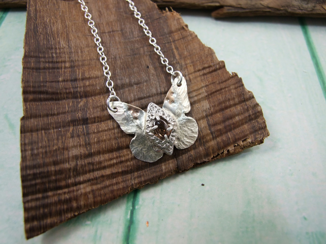 Butterfly Necklace, Sterling Silver set with Zircon