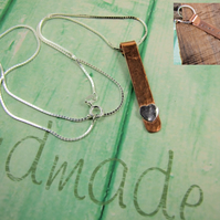 Hidden Message Necklace, Love Always. Copper and Silver Bar Heart Pendant
