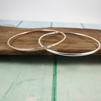 Sterling Silver and Rose Gold Filled Bangles. Set of Two Bracelets
