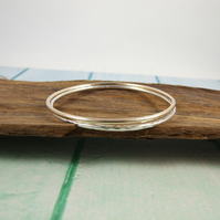 Sterling Silver and Gold Filled Bangles. Set of Two Bracelets