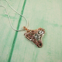 Heart Pendant, Copper and Sterling Silver Scrolls Filigree Necklace