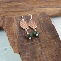Earrings, Sterling Silver, Ruby Zoisite and Embossed Copper, Leaf Earrings